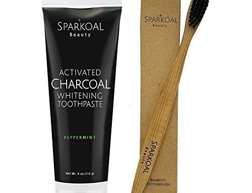 Activated Charcoal Toothpaste with Bonus Bamboo Toothbrush – Best Natural Teeth Whitening – Organic Coconut Oil – Made in USA – Removes Bad Breath and Tooth Stains – Safe Ingredients