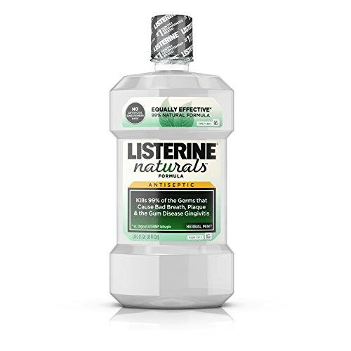 Listerine Naturals Antiseptic Mouthwash, Herbal Mint, 1 L (Pack of 6)