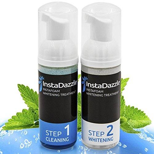 InstaDazzle InstaFoam – Teeth Whitening Foam Kit for a Whiter & Brighter Smile, Easy 2 Step Daily System, Apply With Toothbrush, Refreshing Cool Mint Taste