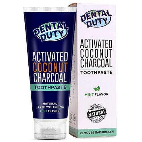 Activated Charcoal Teeth Whitening Toothpaste with Organic Coconut Oil – MADE IN USA –  Best Natural Whitener, Vegan, Fluoride Free, Sulfate Free, Zero Peroxide for Sensitive Teeth, Safe for Kids.