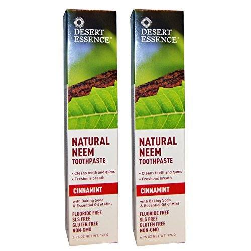 Desert Essence Natural Neem Cinnamint Toothpaste with Neem Bark, and Wild Mint , 6.25 fl. oz. (Pack of 2)