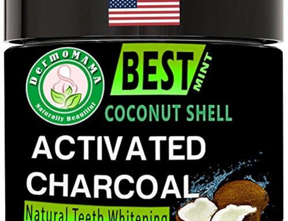 Dermomama Best Teeth Whitening Coconut Shell Charcoal Powder With Xylitol and other Natural and Organic Ingredients – Non Abrasive – Safe on Enamel – American Made – Maximum Strength – (Mint)