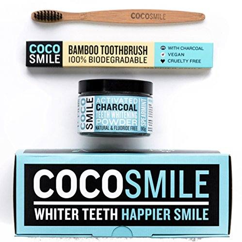 Charcoal Teeth Whitening Powder With Bamboo Toothbrush |100% Natural, Vegan & Cruelty Free Charcoal Toothpaste| 3.17 oz | CocoSmile