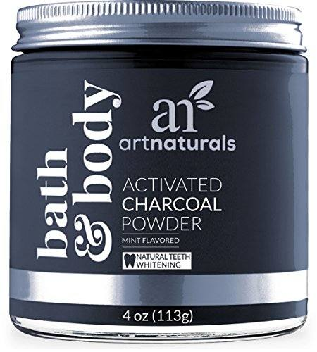 Artnaturals Teeth Whitening Charcoal Powder – 4 Oz – Activated Charcoal for a Natural, Non-Abrasive Whitening – Mint Flavored