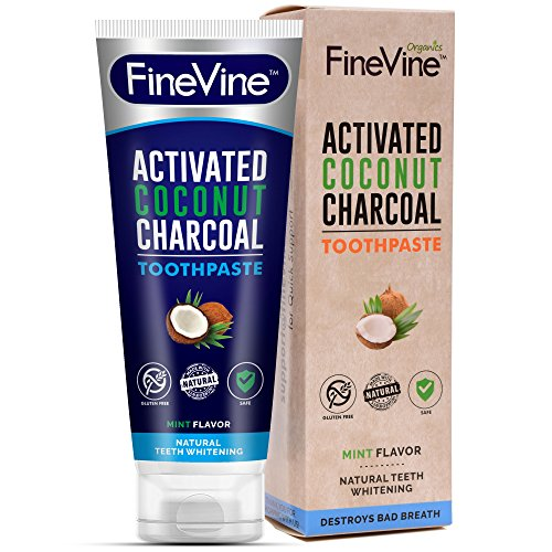 Activated Charcoal Teeth Whitening Toothpaste – Made in USA – REMOVES BAD BREATH and TOOTH STAINS – Best Natural Toothpaste for Herbal Decay Treatment – Mint flavor. (Toothpaste)
