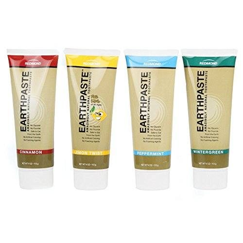 Redmond Earthpaste – Natural Non-Fluoride Toothpaste- Spearmint, Lemon Twist, Peppermint, & Cinnamon  (4 Pack- 1 x 4 Ounce Tube of Each Flavor)