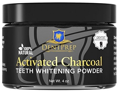 DentPrep Teeth Whitening Activated Charcoal Powder 100% Natural All Organic Coconut Charcoal, 4oz. Made by Dentists USA highest Premium Quality.