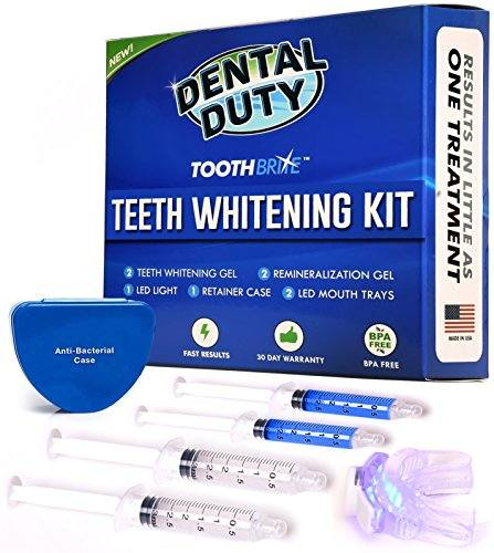 Professional Teeth Whitening Kit – Made in USA – includes 2 Whitening Gel, 2 Tooth Remineralization Gel, Whitening Trays and LED Accelerator Whitener Light for Faster Results.