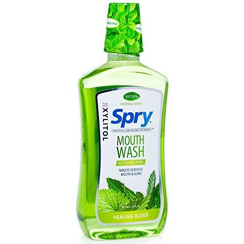 Spry Alcohol-Free Xylitol Mouthwash, Natural Herbal Mint, Healing Blend – 16 fl oz