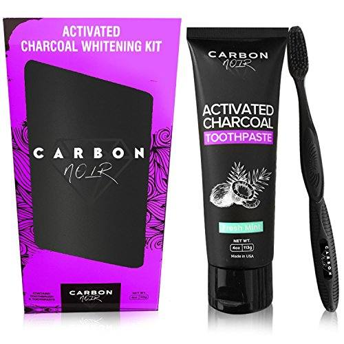 Activated Charcoal Toothpaste Teeth Whitening Kit w/ Coconut Oil, Black Binchotan Toothbrush Included – Made in USA – Natural Whitener, Fluoride Free – No messy powder or strips – Removes Tooth Stains